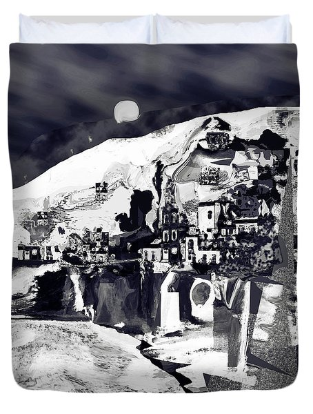 Amalfi Love Under The Moon Duvet Cover