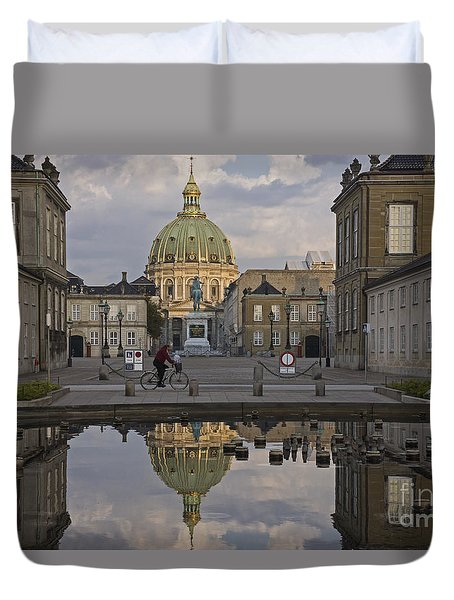 Duvet Cover featuring the photograph Amalienborg Castle And The Marble Church by Inge Riis McDonald