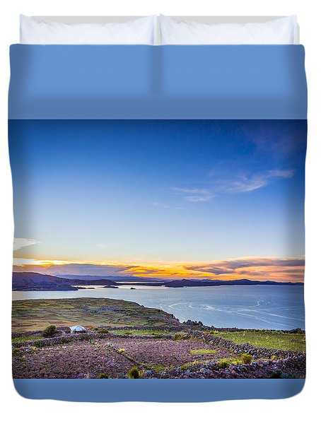 Duvet Cover featuring the photograph Amantani Sunset by Gary Gillette