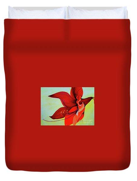 Amaryllis Blossom Duvet Cover by Rachel Lowry