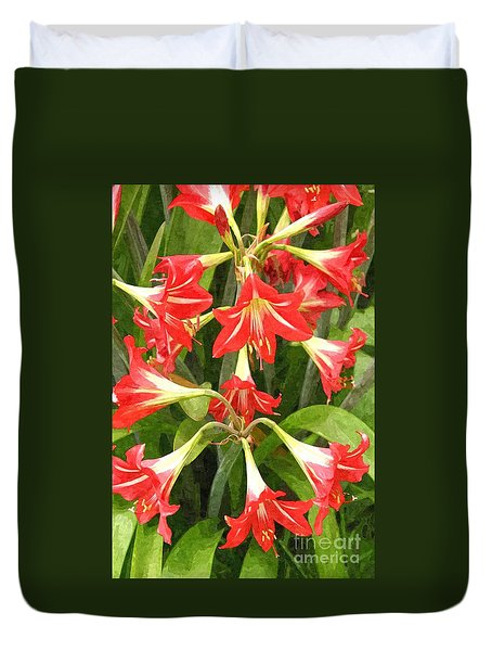 Amaryllis Lily Bunch Duvet Cover