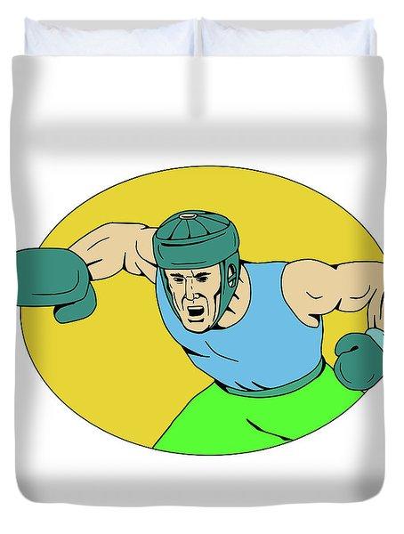 Amateur Boxer Knockout Punch Drawing Duvet Cover