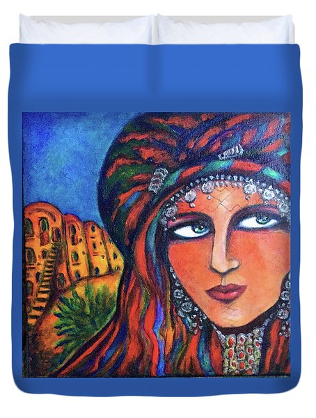 Duvet Cover featuring the painting Amazigh Beauty 2 by Rae Chichilnitsky