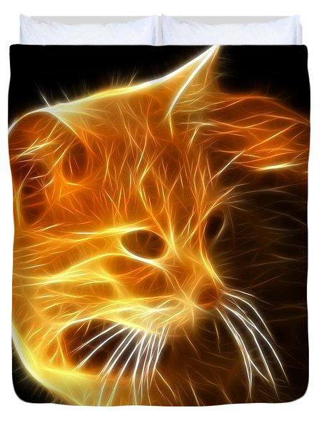 Amazing Cat Portrait Duvet Cover by Pamela Johnson