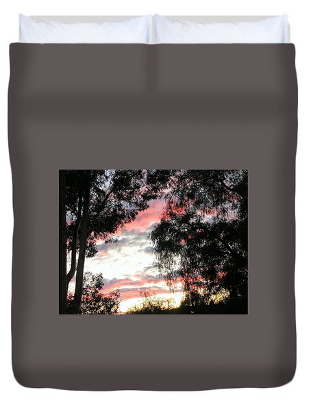 Amazing Clouds Black Trees Duvet Cover
