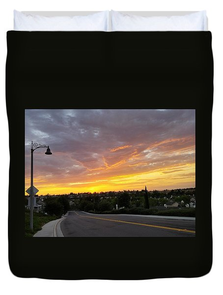 Colorful Sunset In Mission Viejo Duvet Cover