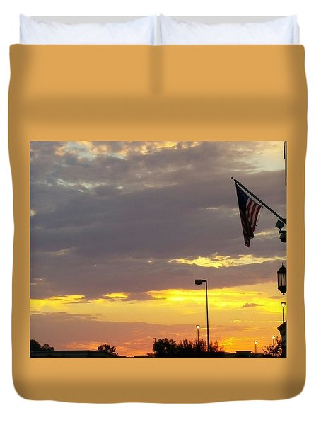 Patriotic Sunset Duvet Cover