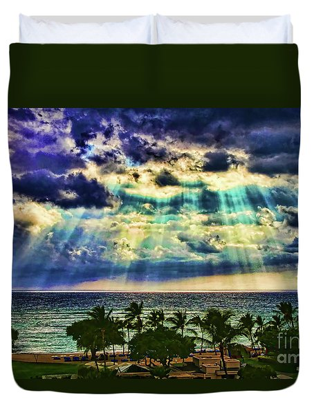 Amazing Grace - Sun Rays Before Sunset By Diana Sainz Duvet Cover