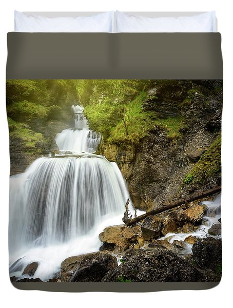 Amazing Mountain Waterfall Near Farchant Village At Garmisch Partenkirchen, Farchant, Bavaria, Germany. Duvet Cover