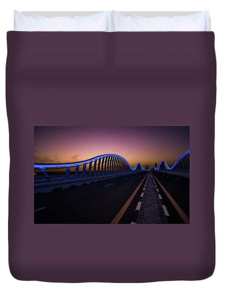 Amazing Night Dubai Vip Bridge With Beautiful Sunset. Private Ro Duvet Cover
