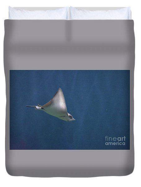 Amazing Stingray Underwater In The Deep Blue Sea  Duvet Cover