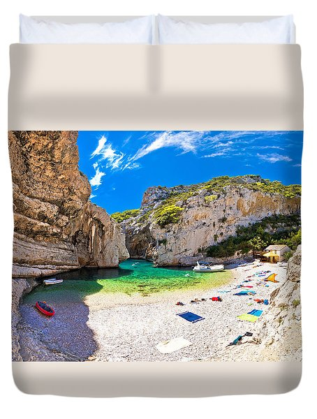 Amazing Stinva Beach Of Vis Island Duvet Cover by Brch Photography