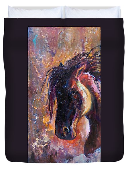 Duvet Cover featuring the painting Amber Dawn by Karen Kennedy Chatham
