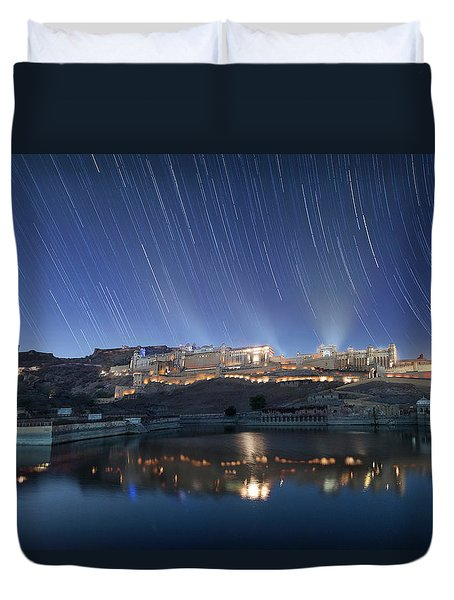 Duvet Cover featuring the photograph Amber Fort After Sunset by Pradeep Raja Prints