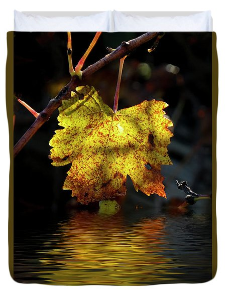 Duvet Cover featuring the photograph Amber Leaf Reflections by Elaine Teague