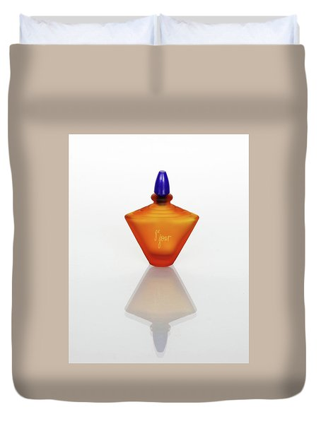 Duvet Cover featuring the photograph Amber Perfume Bottle by David and Carol Kelly
