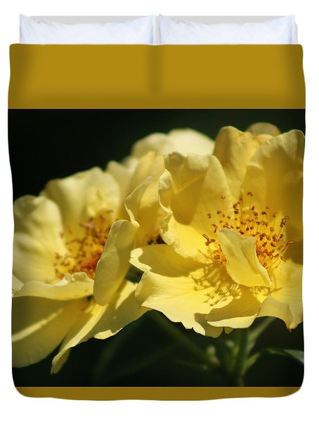 Amber Yellow Country Rose Duvet Cover