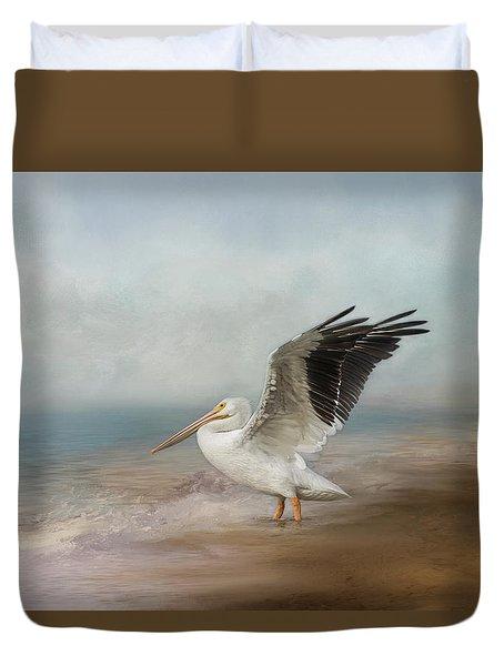Duvet Cover featuring the photograph Amble Along The Shore by Kim Hojnacki