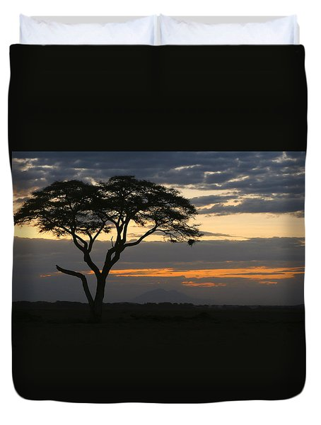 Duvet Cover featuring the photograph Amboseli Sunset by Gary Hall