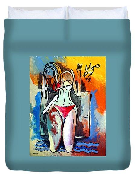 Ameeba- Nude Woman On Beach 1 Duvet Cover