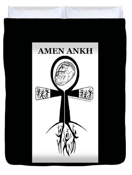 Amen Ankh Bw Duvet Cover