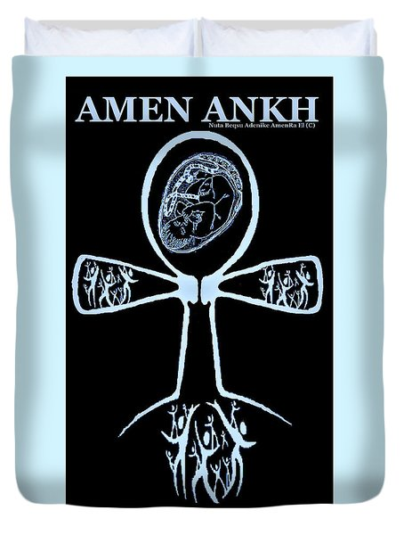 Amen Ankh Indigo Duvet Cover