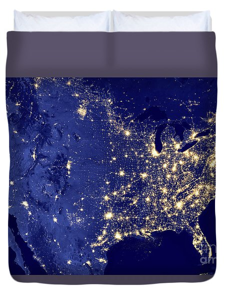 America By Night Duvet Cover by Delphimages Photo Creations