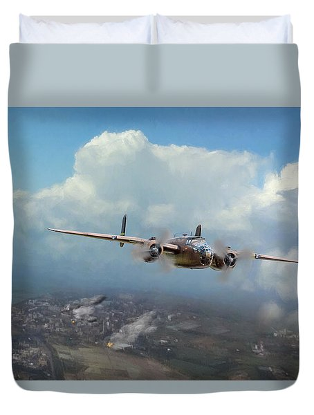Duvet Cover featuring the digital art America Strikes Back by Peter Chilelli