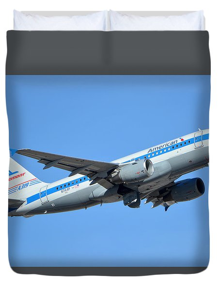 American Airbus A319-0112 N744p Retro Piedmont Pacemaker Phoenix Sky Harbor January 21 2016 Duvet Cover by Brian Lockett