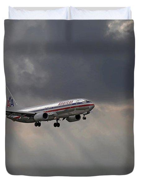 American Aircraft Landing After The Rain. Miami. Fl. Usa Duvet Cover