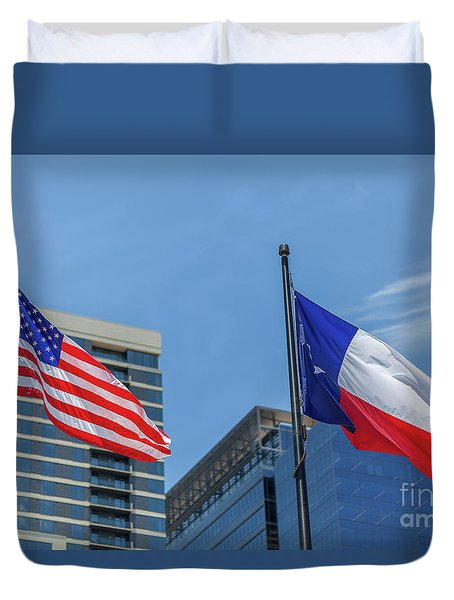 American And Texas Flag On Top Of The Pole Duvet Cover
