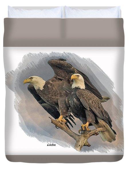 American Bald Eagle Pair Duvet Cover