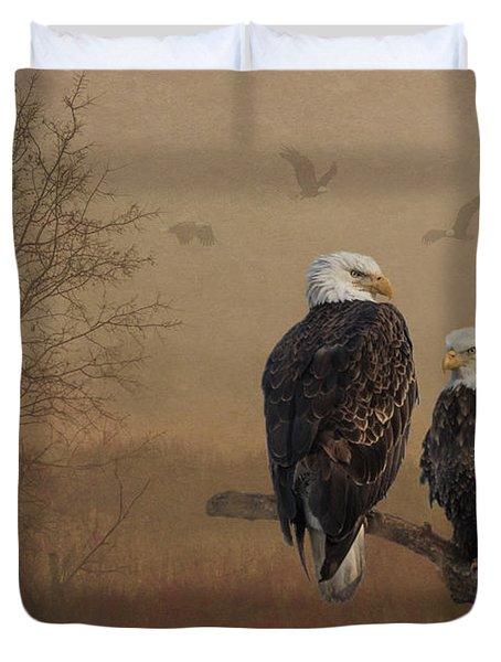 American Bald Eagle Family Duvet Cover