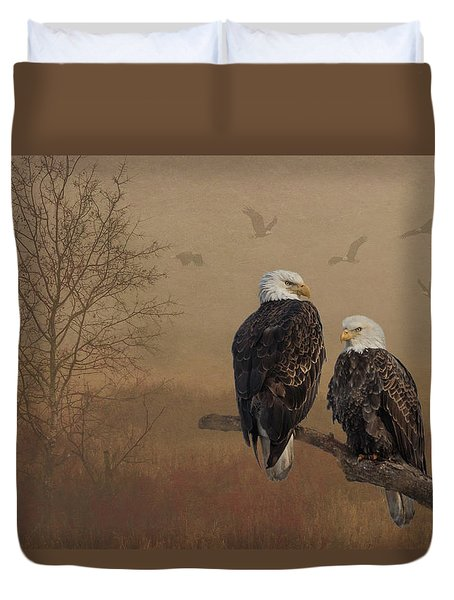 Duvet Cover featuring the photograph American Bald Eagle Family by Patti Deters
