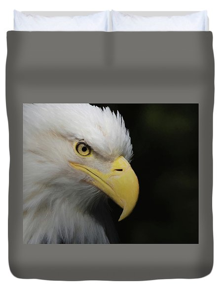 Duvet Cover featuring the digital art American Bald Eagle Portrait 4 by Ernie Echols