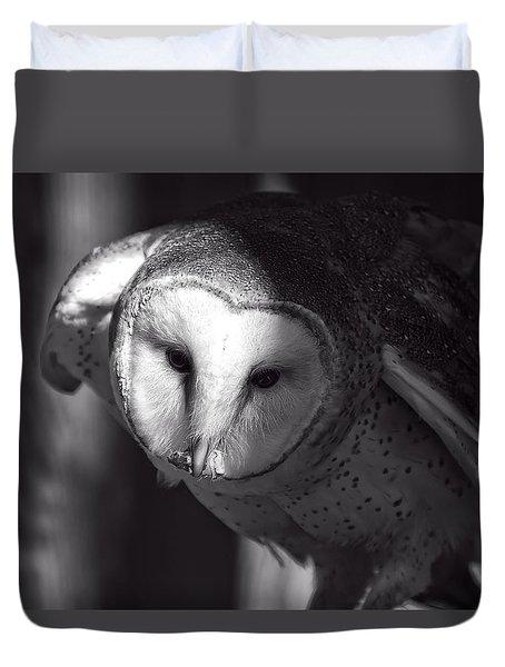 American Barn Owl Monochrome Duvet Cover