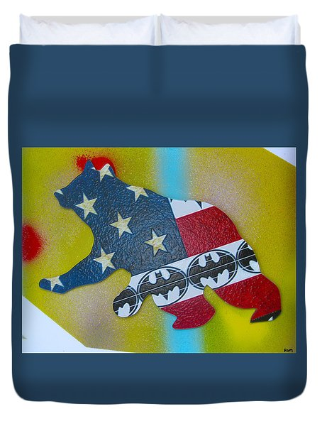 Duvet Cover featuring the painting American Bear In Paris by Robert Margetts