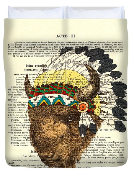 American Bison - Buffalo With Indian Headdress Duvet Cover