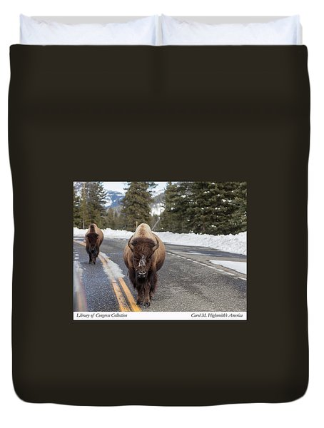 American Bison In Yellowstone National Park Duvet Cover by Carol M Highsmith