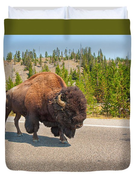 Duvet Cover featuring the photograph American Bison Sharing The Road In Yellowstone by John M Bailey