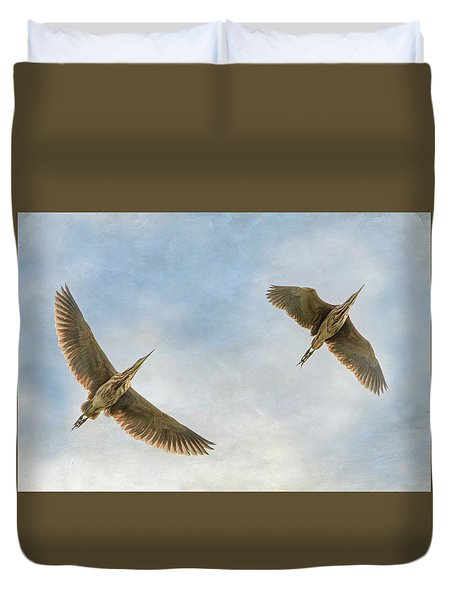 Duvet Cover featuring the photograph American Bitterns In Flight by Angie Vogel