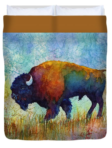 Duvet Cover featuring the painting American Buffalo 5 by Hailey E Herrera