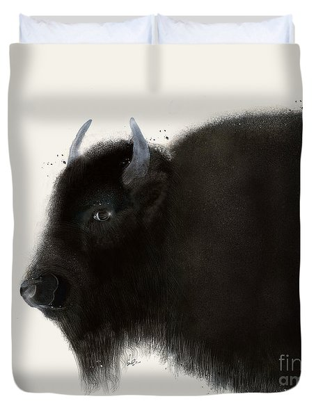 Duvet Cover featuring the painting American Buffalo by Bri B