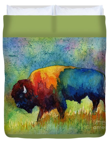 Duvet Cover featuring the painting American Buffalo IIi by Hailey E Herrera