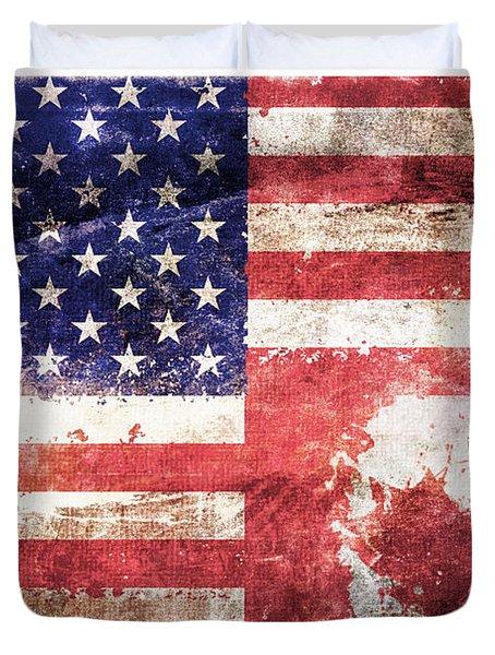 American Canadian Tattered Flag Duvet Cover