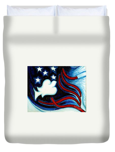 Duvet Cover featuring the painting American Dove by Genevieve Esson