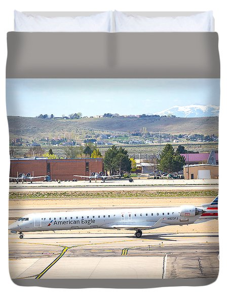 Duvet Cover featuring the photograph American Eagle Boi by Dart Humeston