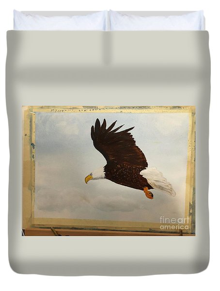 Duvet Cover featuring the painting American Eagle by Donald Paczynski