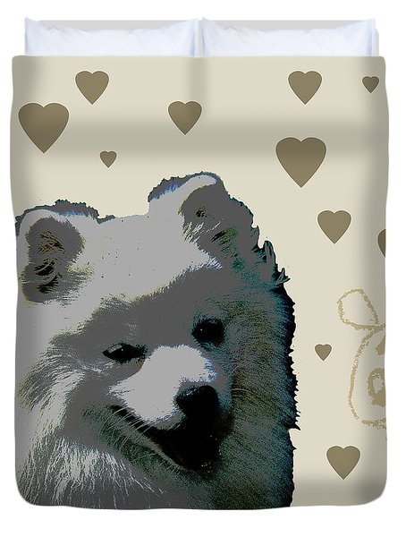 American Eskimo Duvet Cover by One Rude Dawg Orcutt