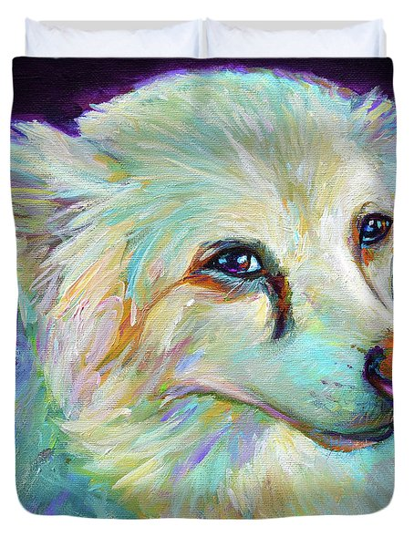 Duvet Cover featuring the painting American Eskimo by Robert Phelps